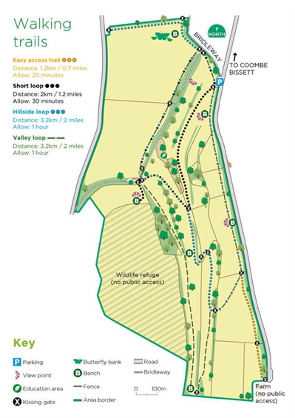 Image of walking trails on a map of coombe bissett down nature reserve