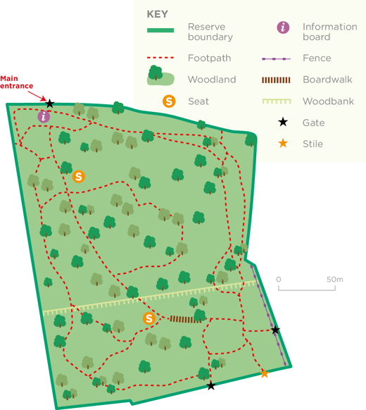 Vincients Wood reserve map © WWT