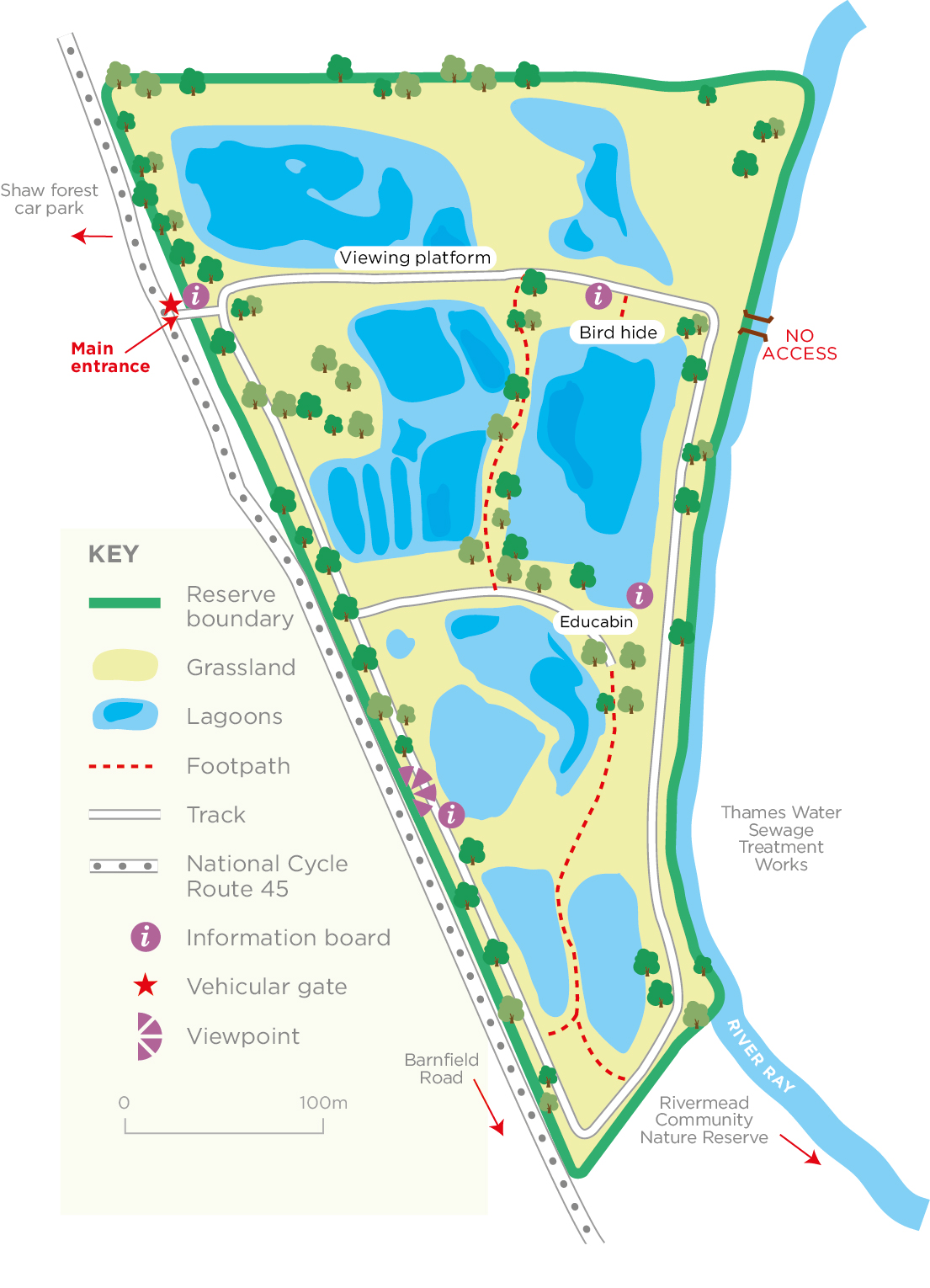 Swindon Lagoons reserve map © WWT