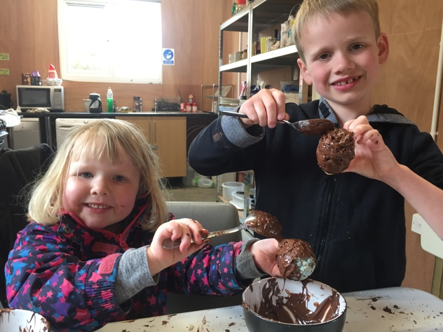 Chocolate egg making at Easter