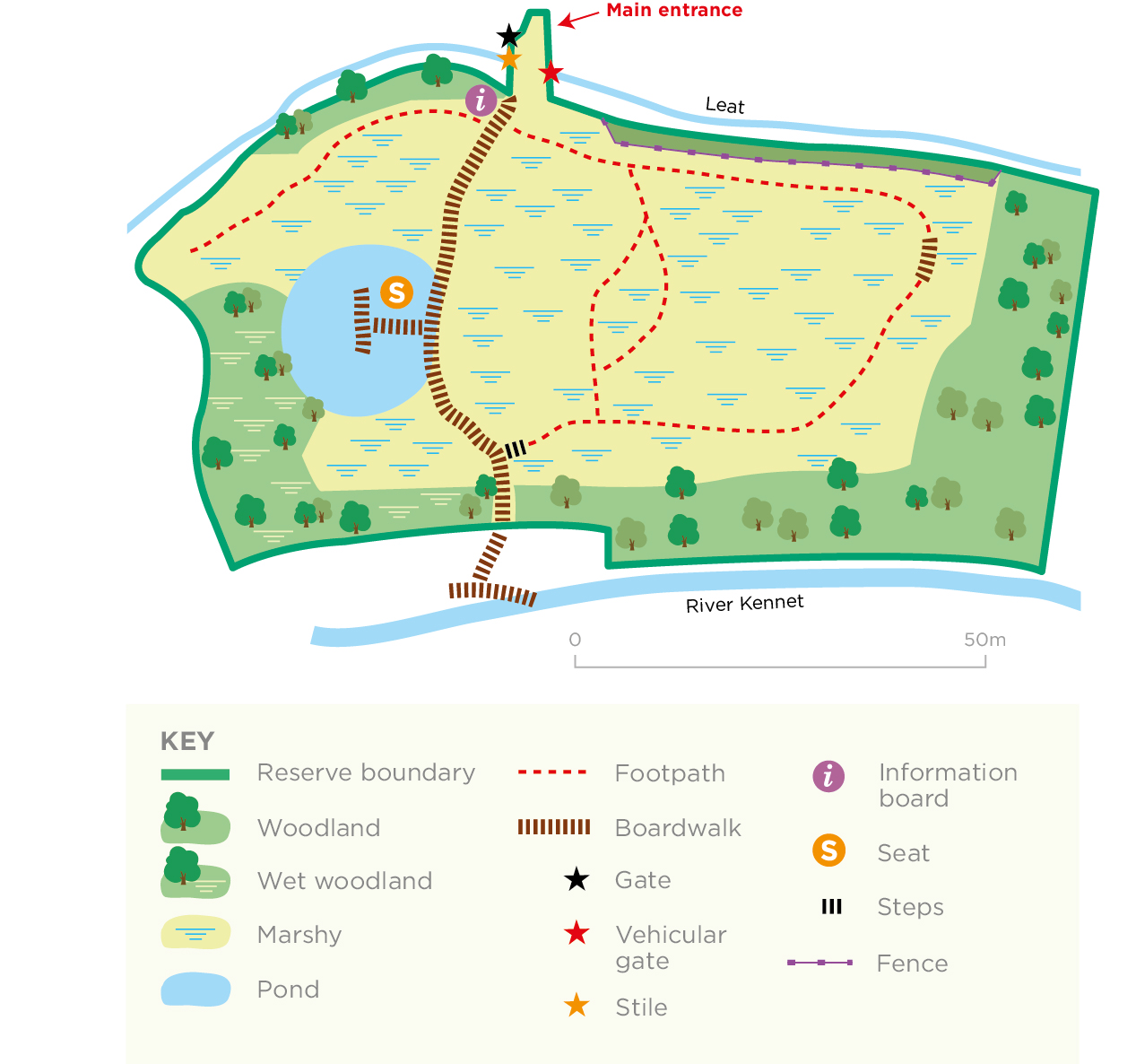 Ramsbury Meadow reserve map © WWT