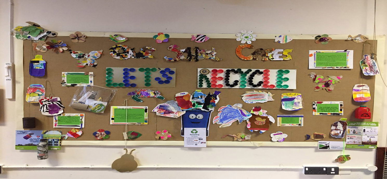 Lets Recycle 3D wall art made by St Barts School