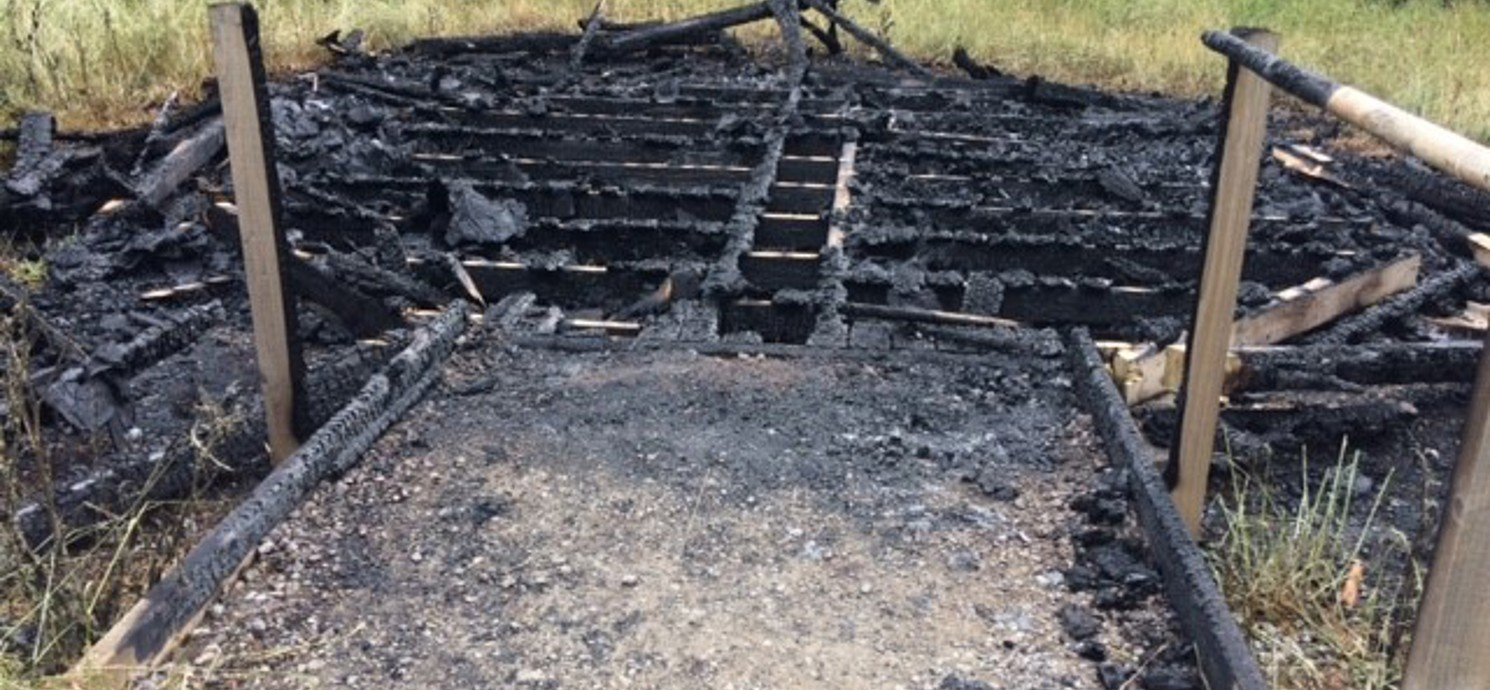 Gazebo at St Julian's Wood destroyed by arson